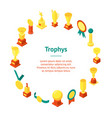 trophy cups awards banner card circle isometric vector image vector image