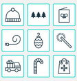 year icons set with winter hat postcard party vector image vector image