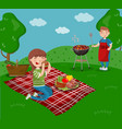 young happy couple cooking and eating bbq while vector image vector image
