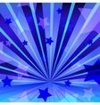 Abstract blue background with stars and radiating vector image