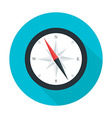 Compass flat circle icon with long shadow vector image