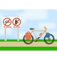 Bicycle on road Bicycle tourism sport vector image