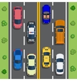 Highway traffic with top view cars vector image