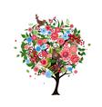tree flowers vector image