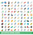 100 office work icons set isometric 3d style vector image vector image