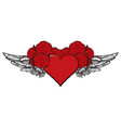 banner with a red flying heart with black wings vector image