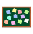 blackboard with post it notes vector image
