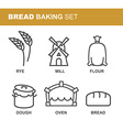 Bread baking set of icons Bread production line vector image vector image