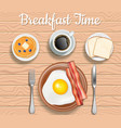 breakfast time top view vector image vector image