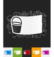 bucket paper sticker with hand drawn elements vector image
