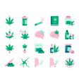 cannabidiol icon set vector image