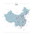 china map with red pin vector image
