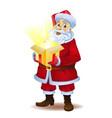 christmas miracle - santa claus holding a box with vector image vector image