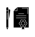 contract with pen black concept icon vector image