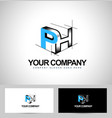 Creative Abstract Cube Logo on white back vector image