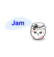 cute fruits jam jar cartoon comic character vector image vector image