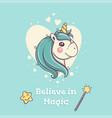 cute unicorn portrait on blue background