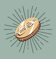 dollar coin on vintage retro background vector image vector image