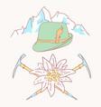 edelweiss tyrolean hat alpenstock flower symbol vector image vector image