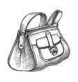 fashion stylish hand luggage bag monochrome vector image