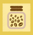 flat shading style icon jar of coffee beans vector image vector image
