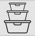 food container icon in flat style kitchen bowl on vector image vector image