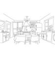 fun cartoon kitchen coloring vector image vector image