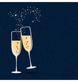 glasses champagne isolated on dark blue vector image vector image