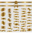 golden ribbon set transparent background vector image