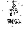 hand drawn christmas mistletoe on white vector image