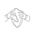 hands hold a ball - continuous one line drawing vector image vector image