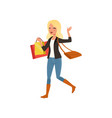 happy blond woman walking with shopping bags from vector image