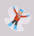 happy boy making snow angel childhood game kid vector image vector image