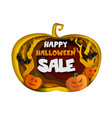 happy halloween sale composition paper cut vector image vector image
