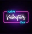 happy valentines day neon horizontal banner 80s vector image vector image
