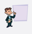 happy white businessman is showing vector image vector image