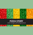 hexagon pattern set pizza story seamless vector image vector image