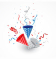 independence day with american confetti and ribbon vector image