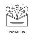 invitation in envelope balloons and stars vector image