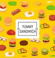 isometric burger ingredients background vector image