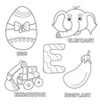 kids alphabet coloring book page with outlined vector image vector image
