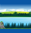 landscape of the mountains and big yard in wood vector image vector image