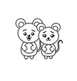 line cute couple wild animal with beautiful vector image