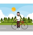 Man riding bike and landscape background design vector image