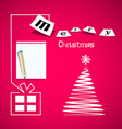 Merry Christmas Pink Card with Paper Gift Box vector image vector image
