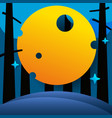 night forest with big moon and stars vector image vector image