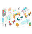 office furniture isometric set isolated on white vector image vector image