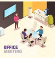 office meeting isometric poster vector image vector image