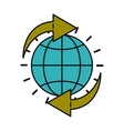 planet drawing with arrows isolated icon design vector image