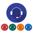 round icon of headphones flat style with long vector image
